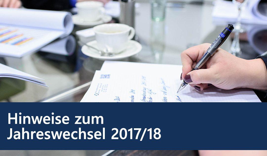 Hinweise zum Jahreswechsel 2017/2018
