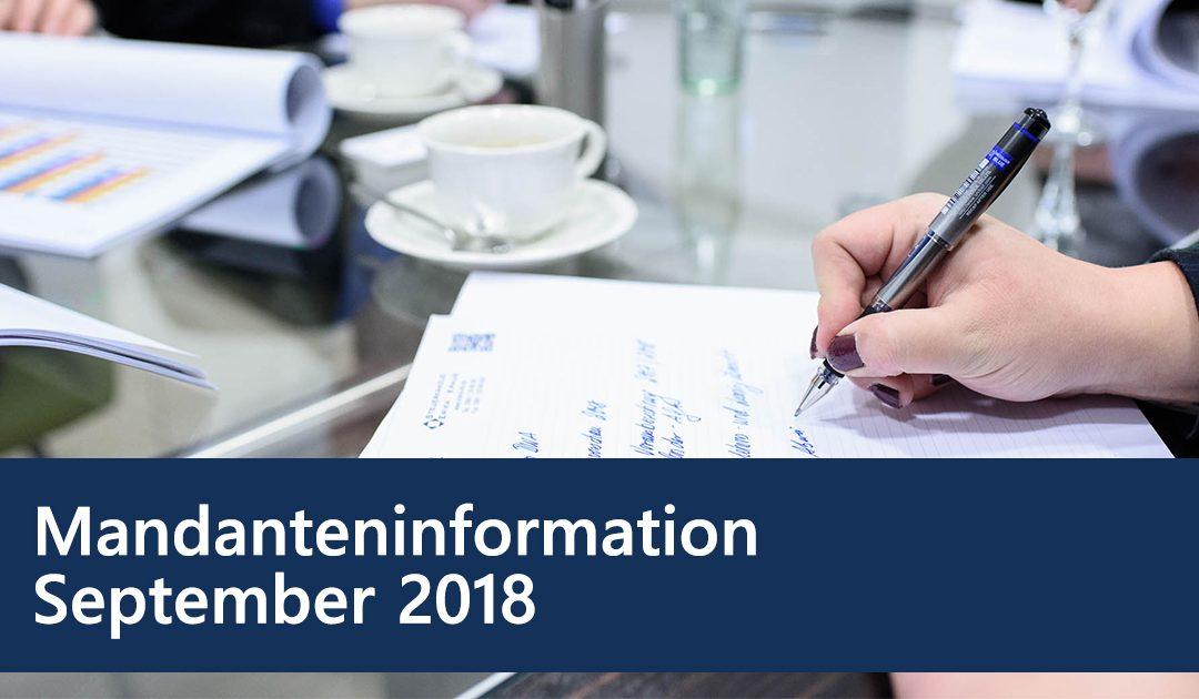Mandanteninformation September 2018