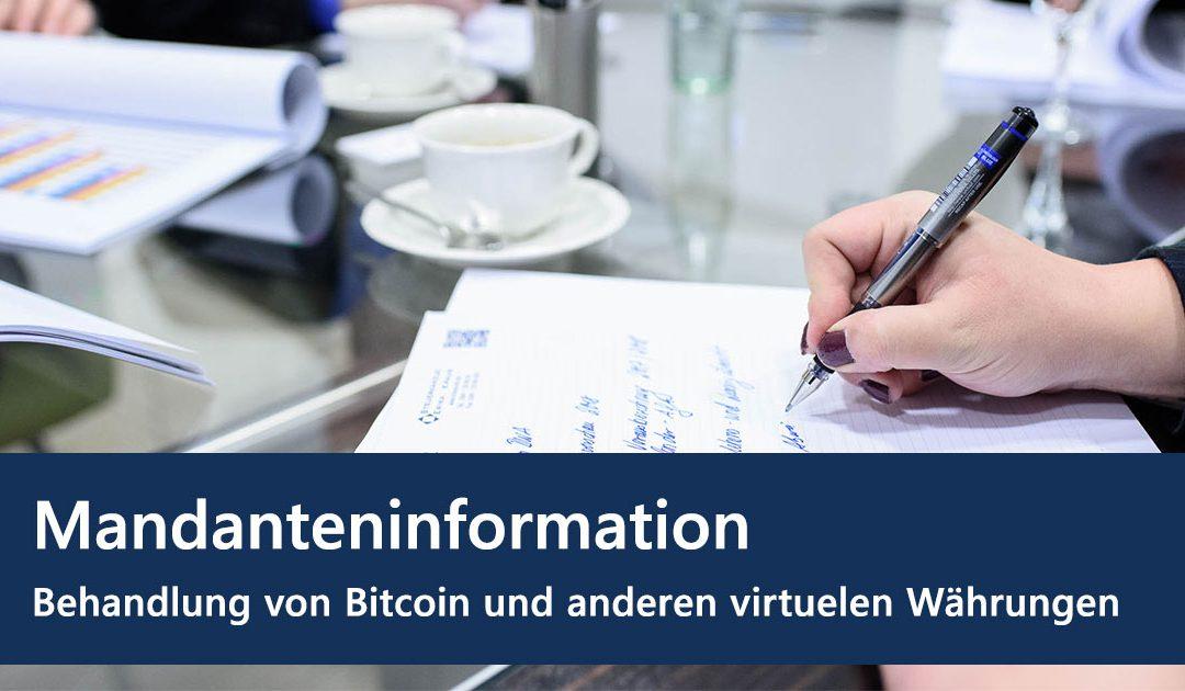 Behandlung von Bitcoin und anderen virtuellen Währungen